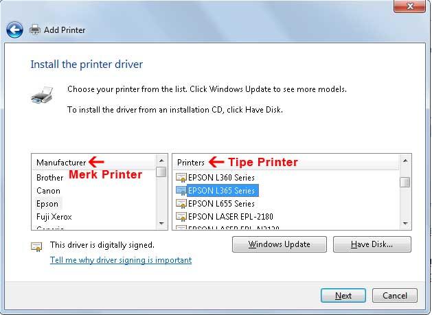 Cara mudah menambahkan printer dari sharing printer